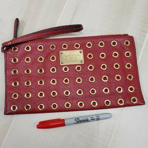Michael Kors Red Large Clutch Wristlet Leather